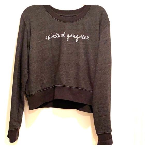 Spiritual Gangster   pullover Gray Women's gold hamsa swearshirt new